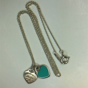 RETURN TO TIFFANY Blue Enamel MINI DOUBLE HEART 16